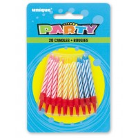 Multi Spiral Birthday Candles in Holders  (20ct) - Pack of 12
