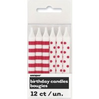 Ruby Red Stripes & Dots Birthday Candles 12CT.