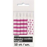 Hot Pink Stripes and Dots Birthday Candles (12)