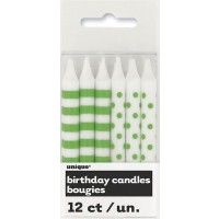 Lime Green Stripes & Dots Birthday Candles 12CT.