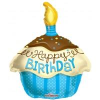 "Happy Birthday Cupcake Shape Blue - 18"" foil balloon"