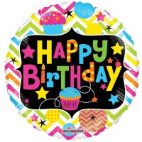 """Happy Birthday with Cupcake Neon - 18"""" foil balloon"""