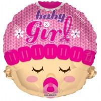 "Baby Girl Head Shape - 18"" foil balloon"