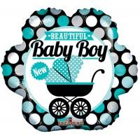 "Beautiful Baby Boy - 18"" foil balloon"