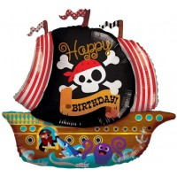 Happy Birthday Pirate Boat Ship Shape (36inch)