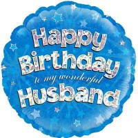 """Happy Birthday to my Wonderful Husband Holographic - 18"""" Foil Balloon"""