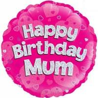 "Happy Birthday Mum Pink Holographic - 18"" Foil Balloon"