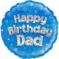 """Happy Birthday Dad Blue Holographic - 18"""" Foil Balloon"""