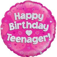 """Happy Birthday Teenager Pink Holographic - 18"""" Foil Balloon"""