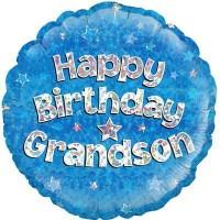 "Happy Birthday Grandson Holographic - 18"" Foil Balloon"
