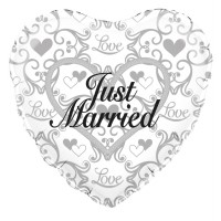 """Just Married Filigree - 18"""" Foil Balloon"""