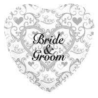 "Bride & Groom Filigree - 18"" Foil Balloon"