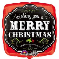 "Merry Christmas Chalkboard 18"" foil"