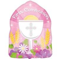 "1st Communion Pink Junior Shape - 18"" Foil Balloon"