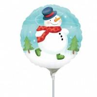 """Whimsical Snowman 9"""" Air Inflation Foil Balloon - Flat"""