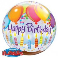"Birthday Balloons & Candles 22"" Single Bubble"