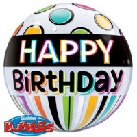 "Birthday Black Band & Dots 22"" Single Bubble"