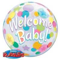 "Welcome Baby Colourful Dots 22"" Single Bubble"