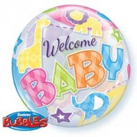 "Welcome Baby Animals Pattern 22"" Single Bubble"