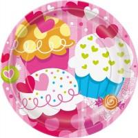 "7"" Plate - Valentine Cupcake Heart - 8CT."