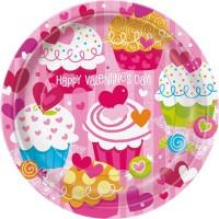 "9"" Plate - Valentine Cupcake Heart - 8CT."