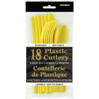 Sunflower Yellow Plastic Cutlery Assorted 18 CT.