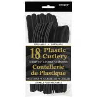 Midnight Black Plastic Cutlery Assorted 18 CT.
