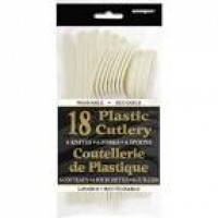 Ivory Plastic Cutlery 18 CT.