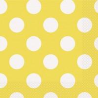 Sunflower Yellow. Dots Napkins 16 CT.