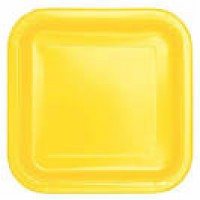 Soft Yellow 9'' Square Plates 14 CT.