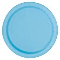 """Powder Blue 9"""" Round Plates 16 CT."""