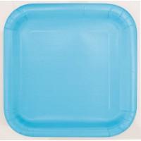 "Powder Blue 9"" Square Plates 14 CT."