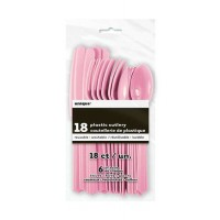 Lovely Pink Plastic Cutlery Assorted 18 CT.