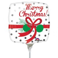 """Silver Dots Merry Christmas 9"""" Inflated with Stick & Cup"""