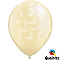 """Just Married Butterflies-A-Round 11"""" Pearl Ivory (25CT)"""