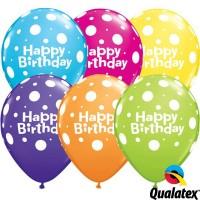 "Birthday Big Polka Dots 11"" Tropical Assorted (25CT)"