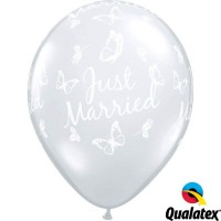 """Just Married Butterflies-A-Round 11"""" Diamond Clear (25CT)"""