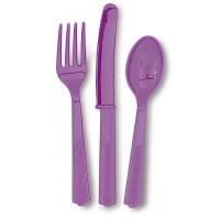 Pretty Purple Plastic Cutlery Assorted 18 CT.