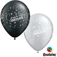 """Congratulations Graduate 11"""" Pearl Onyx Black & Silver (25ct)"""