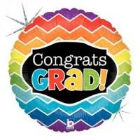 Congrats Grad Chevron Holographic 18 inch Foil Balloon