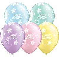 """BABY SHOWER MOON & STARS 11"""" PASTEL ASSORTED (25CT)"""