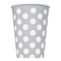 Silver. Dots 12 OZ Cups 6CT