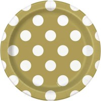 "Gold. Dots 7"" Plates 8CT"