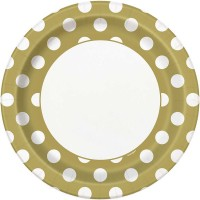 "Gold. Dots 9"" Plates 8 CT."