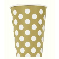 Gold. Dots 12 OZ Cups 6CT