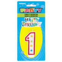 NUMERAL 1 GLITTER CANDLE WITH CAKE DECOR (Pack of 6)