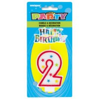 NUMERAL 2 GLITTER CANDLE WITH CAKE DECOR (Pack of 6)