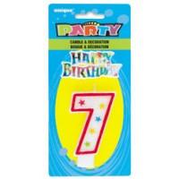 NUMERAL 7 GLITTER CANDLE WITH CAKE DECOR (Pack of 6)