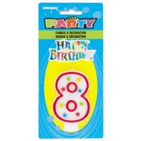 NUMERAL 8 GLITTER CANDLE WITH CAKE DECOR (Pack of 6)
