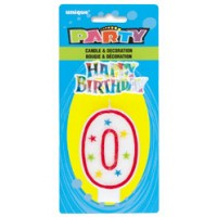 NUMERAL 0 GLITTER CANDLE WITH CAKE DECOR (Pack of 6)